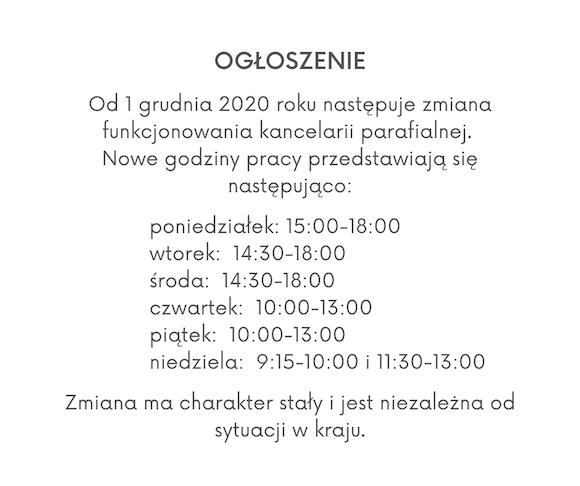 Zmiana godzin funkcjonowania kancelarii parafialnej